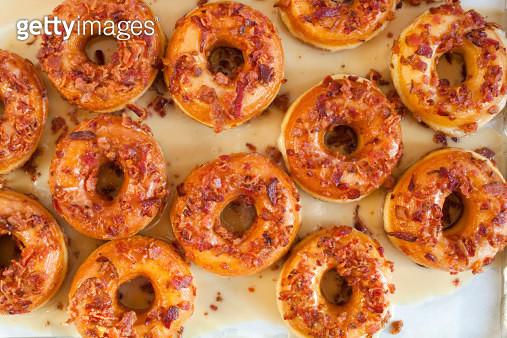 Multiple maple glazed bacon donuts - gettyimageskorea