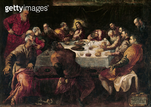 <b>Title</b> : The Last Supper (oil on canvas)<br><b>Medium</b> : oil on canvas<br><b>Location</b> : Church of Francois Xavier, Paris, France<br> - gettyimageskorea