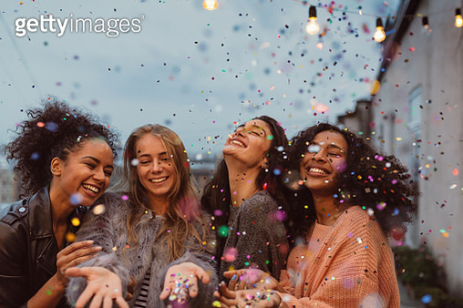 Female Friends Enjoying At Party - gettyimageskorea