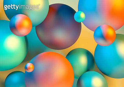 Abstract 3D Chaotic Spheres Rendering Geometric Levitation Background. Minimalism Vibrant Orange Green Yellow Fly Background - gettyimageskorea