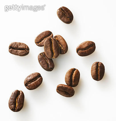 Roasted coffee beans on a white background - gettyimageskorea