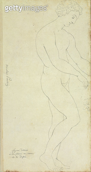 <b>Title</b> : A Nude (pen & ink on paper)Additional InfoUn Nu (verso);<br><b>Medium</b> : pen and ink on paper<br><b>Location</b> : Musee Conde, Chantilly, France<br> - gettyimageskorea
