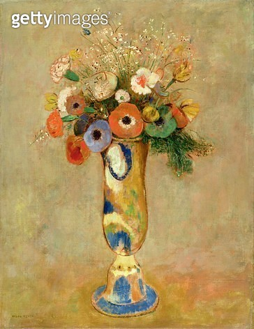 Flowers in a Painted Vase - gettyimageskorea