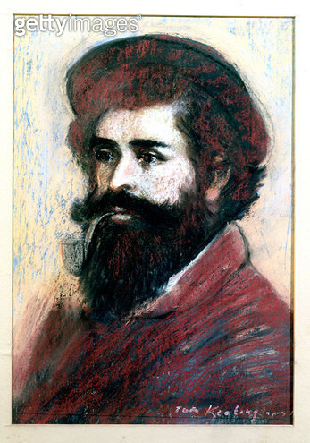 <b>Title</b> : 'Portrait of Monet', in the manner of Pierre Auguste Renoir (1841-1919) (pastel on paper)<br><b>Medium</b> : oil on canvas<br><b>Location</b> : Private Collection<br> - gettyimageskorea
