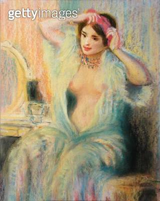 <b>Title</b> : 'Girl at her Toilet', in the manner of Pierre Auguste Renoir (1841-1919) (pastel on paper)<br><b>Medium</b> : pastel on paper<br><b>Location</b> : Private Collection<br> - gettyimageskorea