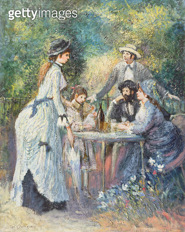 <b>Title</b> : 'Garden Scene', in the manner of Pierre Auguste Renoir (1841-1919) (oil on canvas)<br><b>Medium</b> : oil on canvas<br><b>Location</b> : Private Collection<br> - gettyimageskorea