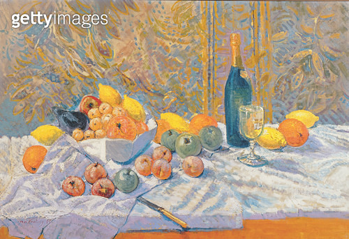 <b>Title</b> : Still Life, in the manner of Paul Cezanne (1839-1906) (oil on canvas)<br><b>Medium</b> : oil on canvas<br><b>Location</b> : Private Collection<br> - gettyimageskorea