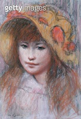 <b>Title</b> : Portrait of a Girl, in the manner of Pierre Auguste Renoir (1841-1919) (pastel on paper)<br><b>Medium</b> : pastel on paper<br><b>Location</b> : Private Collection<br> - gettyimageskorea