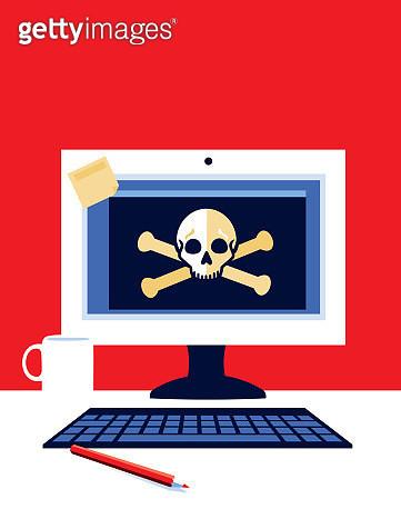 Desktop Computer with Skull and Cross bones - gettyimageskorea