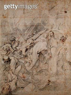 <b>Title</b> : Christ being taken prisoner (black, white and red crayon on brown paper with brown ink)<br><b>Medium</b> : black crayon, white and red crayon on brown paper with brown ink<br><b>Location</b> : Hamburger Kunsthalle, Hamburg, Germany<br> - gettyimageskorea