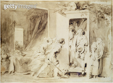 <b>Title</b> : The Surprised Lover, 1755 (brown pencil over chalk preliminary drawing)<br><b>Medium</b> : brown pencil over chalk preliminary drawing<br><b>Location</b> : Hamburger Kunsthalle, Hamburg, Germany<br> - gettyimageskorea