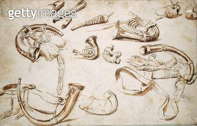 <b>Title</b> : Hunting Paraphernalia (pencil, pen and ink on paper)<br><b>Medium</b> : pencil and pen and ink on paper<br><b>Location</b> : Hamburger Kunsthalle, Hamburg, Germany<br> - gettyimageskorea