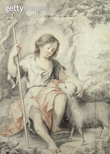 <b>Title</b> : The Young John the Baptist with the Lamb in a Rocky Landscape (red and black chalk on paper)<br><b>Medium</b> : red and black chalk on paper<br><b>Location</b> : Hamburger Kunsthalle, Hamburg, Germany<br> - gettyimageskorea