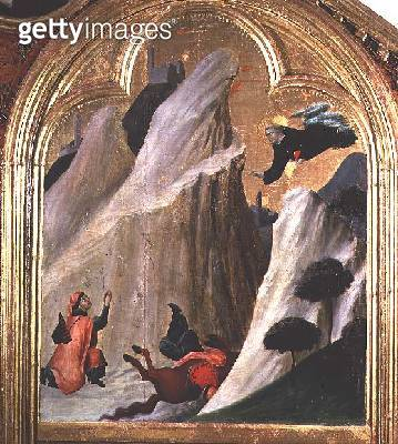 <b>Title</b> : Agostino Saving a Man who Fell from his Horse, from the Altar of the Blessed Agostino Novello, c.1328 (oil on panel)<br><b>Medium</b> : <br><b>Location</b> : St. Agostino Novello, Siena, Italy<br> - gettyimageskorea