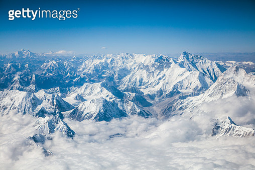 Aerial view of Himalaya range with mount Everest, Nepal - gettyimageskorea