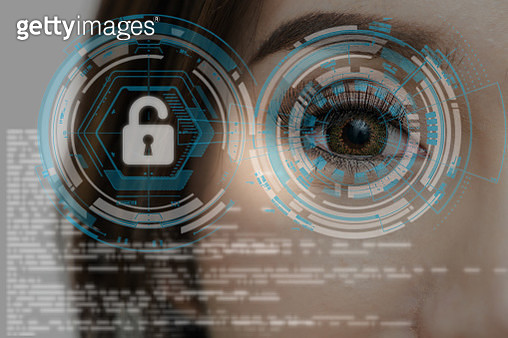 Closeup Asian women being futuristic vision for biometric authentication to unlock security, digital technology screen over the eye vision background, security and command in the accesses. surveillance and sefety concept - gettyimageskorea