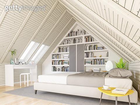 Bedroom in the attic - gettyimageskorea