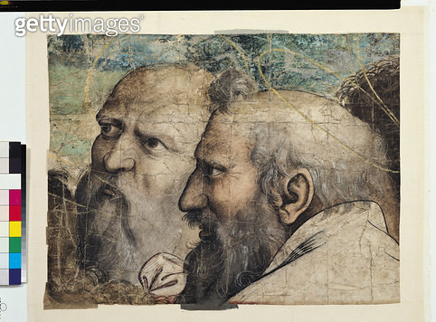<b>Title</b> : Two Heads, study for St. Peter Receiving the Keys to Heaven (fresco) (detail)<br><b>Medium</b> : <br><b>Location</b> : Musee Conde, Chantilly, France<br> - gettyimageskorea