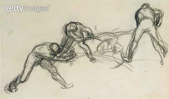 <b>Title</b> : The Pit Sawyers (chalk on paper)<br><b>Medium</b> : chalk on paper<br><b>Location</b> : Musee Bonnat, Bayonne, France<br> - gettyimageskorea