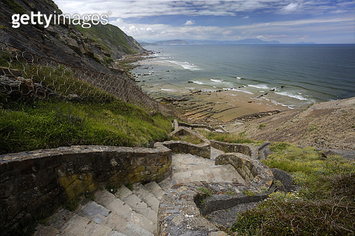 Stairs going to Barrika beach - gettyimageskorea