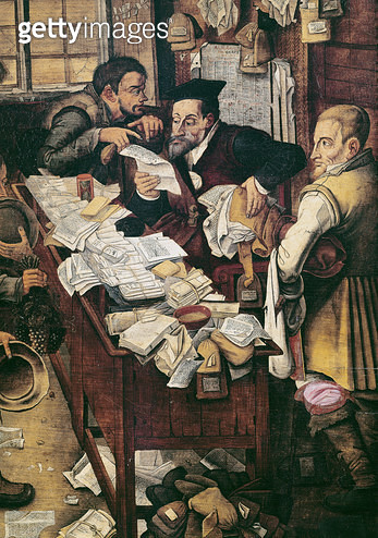 <b>Title</b> : The Payment of the Yearly Dues (oil on panel) (detail of GIR79511)<br><b>Medium</b> : oil on panel<br><b>Location</b> : Museum voor Schone Kunsten, Ghent, Belgium<br> - gettyimageskorea