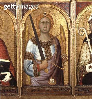 <b>Title</b> : St. Michael, detail from the altarpiece of SS Geminianus, Michael and Augustine, c.1319 (tempera with gold and silver on panel)<br><b>Medium</b> : tempera with gold and silver on panel<br><b>Location</b> : Fitzwilliam Museum, University of  - gettyimageskorea