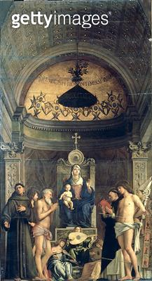 <b>Title</b> : Madonna and Child Enthroned between SS. Francis, John the Baptist, Job, Dominic, Sebastian and Louis (the San Giobbe Altarpiece)<br><b>Medium</b> : oil on panel<br><b>Location</b> : Galleria dell' Accademia, Venice, Italy<br> - gettyimageskorea