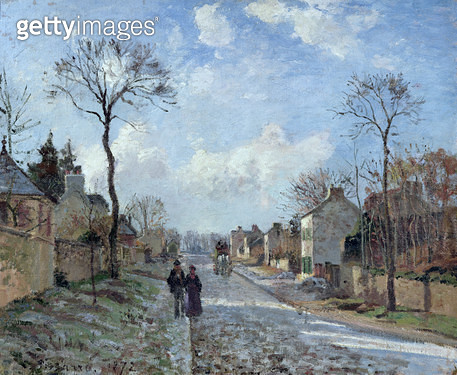 <b>Title</b> : The Road to Louveciennes, 1872 (oil on canvas)<br><b>Medium</b> : oil on canvas<br><b>Location</b> : Musee d'Orsay, Paris, France<br> - gettyimageskorea