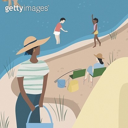 Family camping illustration. New social distancing. - gettyimageskorea