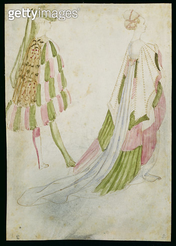 <b>Title</b> : Gentleman and Lady in Court Costume (w/c on paper)Additional Infoun homme et une femme en habits de cour;<br><b>Medium</b> : <br><b>Location</b> : Musee Conde, Chantilly, France<br> - gettyimageskorea