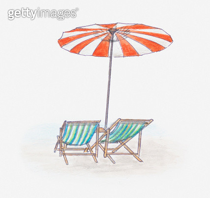 Illustration of beach umbrella providing shade above two deckchairs - gettyimageskorea