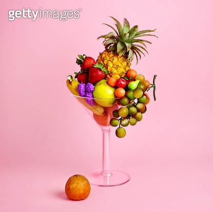 Fruit cocktail in martini glass - gettyimageskorea