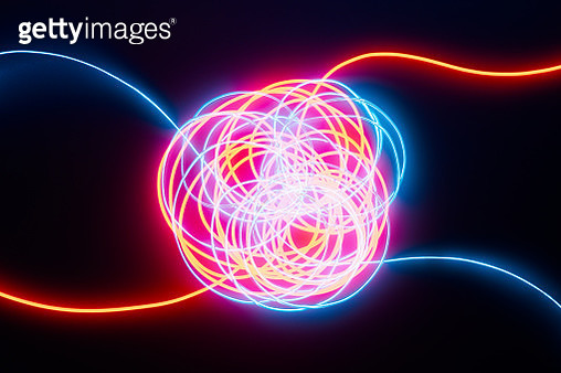 Complicated Crossing Connection of Illuminated Neon Light Cables on Dark Background. - gettyimageskorea
