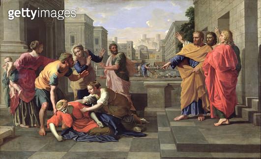 <b>Title</b> : The Death of Sapphira (oil on canvas)<br><b>Medium</b> : oil on canvas<br><b>Location</b> : Louvre, Paris, France<br> - gettyimageskorea