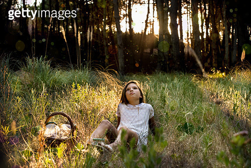 Girl with picnic basket reclining in sunlit forest gazing upward - gettyimageskorea