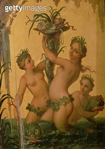 <b>Title</b> : Detail of sirens holding a cornucopia from the State Carriage of Peter the Great, c.1724<br><b>Medium</b> : <br><b>Location</b> : Hermitage, St. Petersburg, Russia<br> - gettyimageskorea