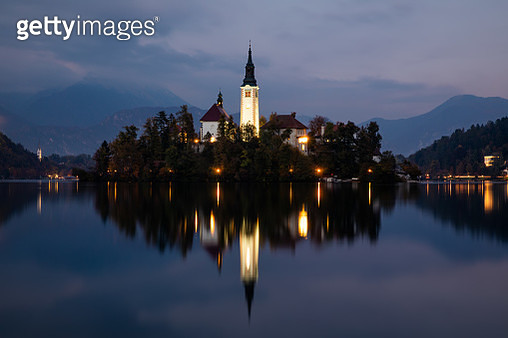 Bled Lake with Pilgrimage Church of the Assumption of Maria, Bled, Slovenia, Europe. - gettyimageskorea