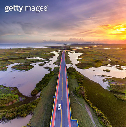 Sunset Scence of Aerial view over the road - gettyimageskorea