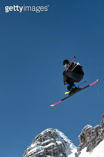 Free Style Skier Practicing Big Air - gettyimageskorea