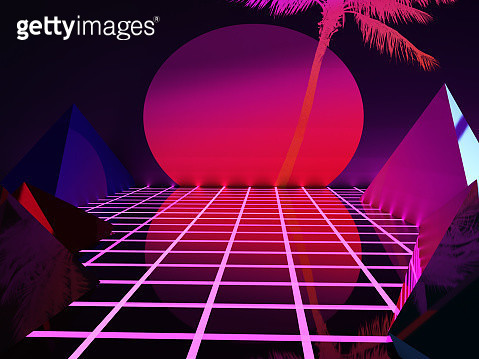 Futuristic 3d render retro style with geometries, neon colors and big dusk sun. - gettyimageskorea