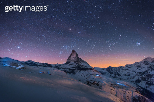 Night Winter landscape of Matterhorn - gettyimageskorea
