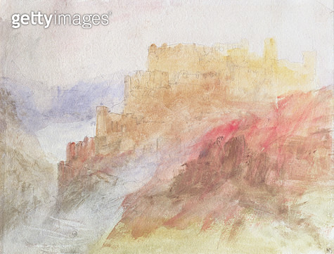 <b>Title</b> : A Castle Above A Chasm, c.1841/44 (pencil and w/c on paper)<br><b>Medium</b> : pencil and watercolour on paper<br><b>Location</b> : Private Collection<br> - gettyimageskorea