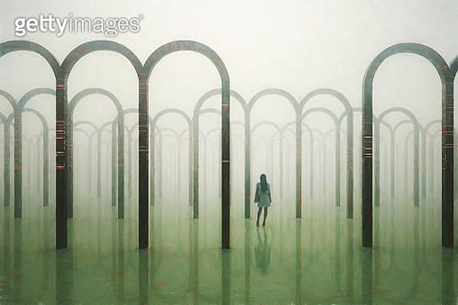 Lost woman walking in surreal maze - gettyimageskorea