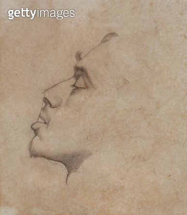 <b>Title</b> : Portrait Head of Dante Gabriel Rossetti (1828-82) (pencil on paper)<br><b>Medium</b> : pencil on paper<br><b>Location</b> : Private Collection<br> - gettyimageskorea
