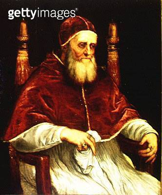 <b>Title</b> : Pope Julius II (1443-1513) after a painting by Raphael, c.1545-46 (oil on canvas)<br><b>Medium</b> : oil on canvas<br><b>Location</b> : Palazzo Pitti, Florence, Italy<br> - gettyimageskorea