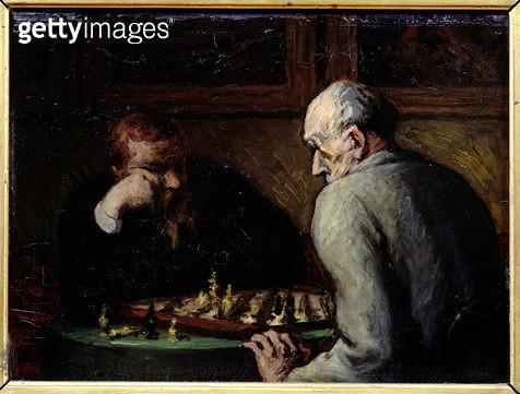 <b>Title</b> : The Chess Players, c.1863-67 (oil on canvas)<br><b>Medium</b> : oil on canvas<br><b>Location</b> : Musee de la Ville de Paris, Musee du Petit-Palais, France<br> - gettyimageskorea
