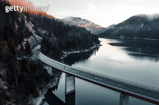 Bridge over lake in Germany - gettyimageskorea