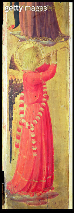 <b>Title</b> : Angel Playing a Pipe, from the Linaiuoli Triptych, 1433 (tempera on panel) (detail)<br><b>Medium</b> : <br><b>Location</b> : Museo di San Marco dell'Angelico, Florence, Italy<br> - gettyimageskorea