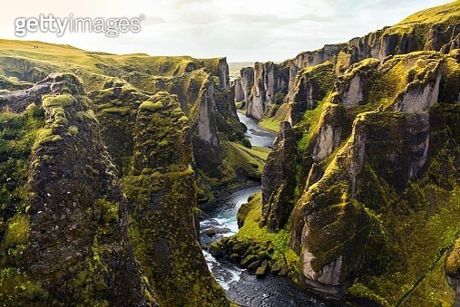 Sunrise landscape at Fjadrargljufur canyon in Iceland - gettyimageskorea