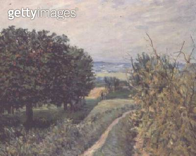 <b>Title</b> : In the Vineyards at Louveciennes, 1874<br><b>Medium</b> : oil on canvas<br><b>Location</b> : Private Collection<br> - gettyimageskorea